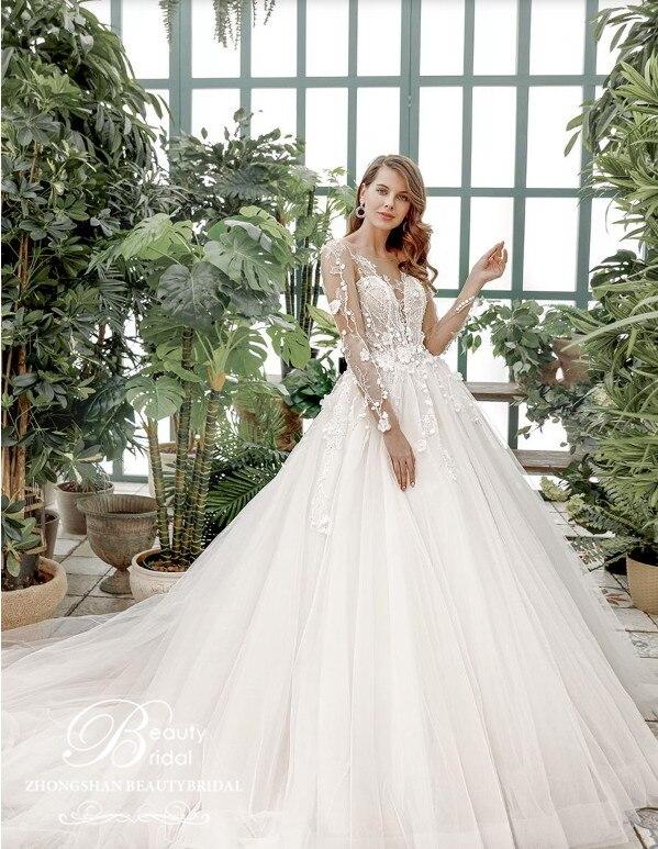 2020 Wedding Dresses Vestido De Novia 100% Real Photos Chaple Train Lace Appliques Off The Shoulder Wedding Dress Vestido JM002