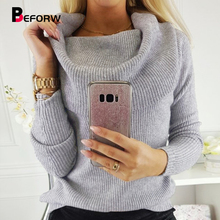 BEFORW 2019 Women Sexy Off Shoulder Knitted Winter Sweater Turtleneck Long Sleeve Black Pullover Sweaters Fall Casual Jumper
