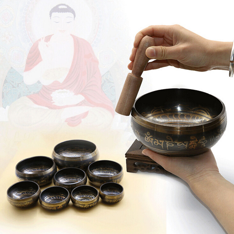 Tibetan Singing Bowl Home Decoration Buddhism Dharma Monks Lama Supplies Yoga Copper Sound Therapy Nepal Handmade Bowl New
