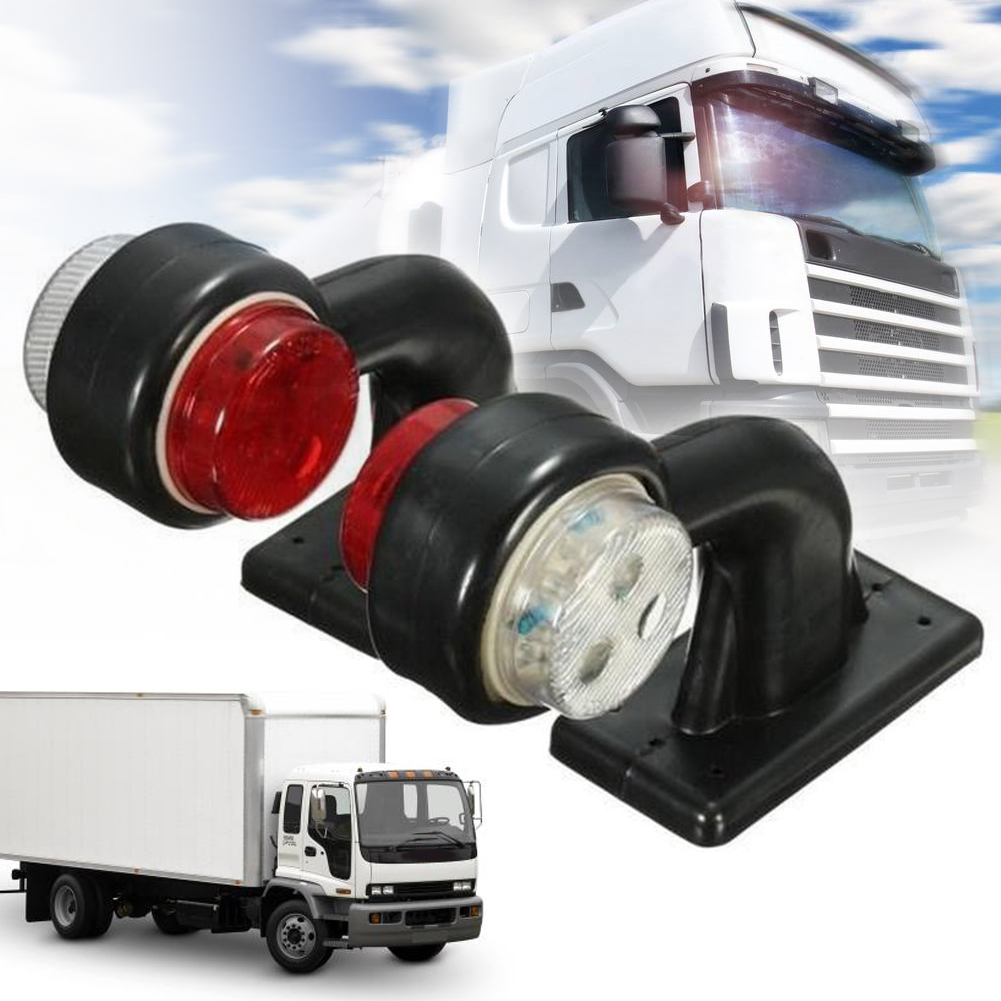 1pair Easy Install Elbow Lamp High Brightness Warning Small Side Marker Light White Red 12 LED 24V Trailer Truck Accessories