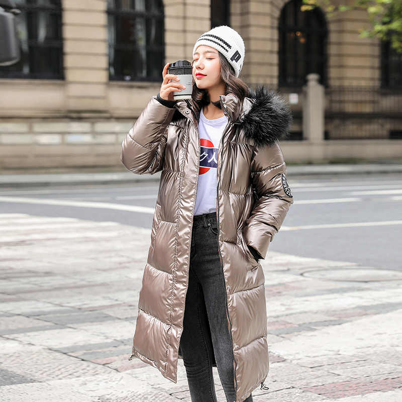 새로운 여성 롱 코트 파커 여성 광택 겨울 따뜻한 가짜 모피 코트 실버 다운 재킷 파커 재킷 코트