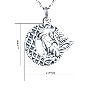 Image 2 - YFN 925 Sterling Silver Necklace Jewelry Nine Tail Fox Pendant Necklace With Moon Trendy Jewelry For Women Valentines Day Gifts