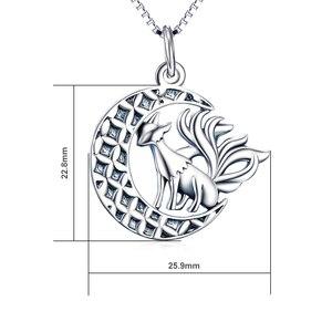 Image 2 - YFN 925 الاسترليني مجوهرات قلادة من الفضة تسعة الذيل الثعلب قلادة قلادة مع القمر العصرية مجوهرات للنساء هدايا عيد الحب