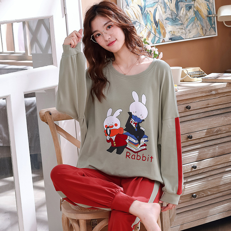 Japanese And South Korean Style WOMEN'S Pajamas 2020 Spring And Autumn New Products Cute Cartoon Rabbit Casual Loose Tracksuit T