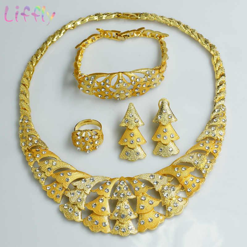 Liffly Afrikanischen Schmuck Sets Blume Form Kristall Überlappung Große Halskette Ohrringe Ring Armband Dubai Hochzeit Schmuck Sets Etc.