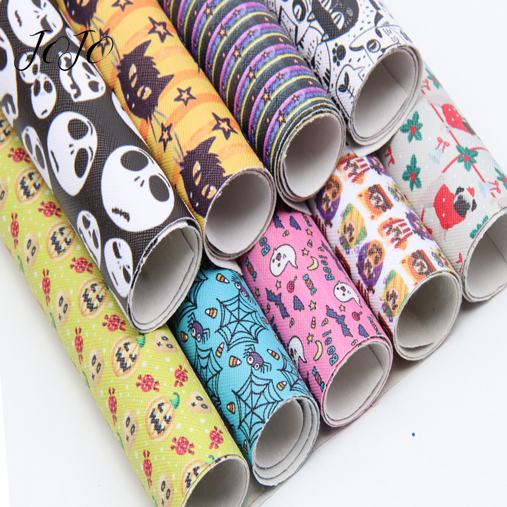 JOJO BOWS 22*30cm 1pc Faux Synthetic Leather Fabric Printed Sheet DIY Hair Bow Crafts Halloween Party Decoration Apparel Sewing
