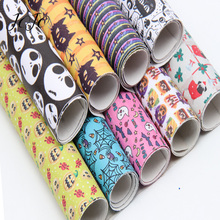 JOJO BOWS 22*30cm 1pc Faux Synthetic Leather Fabric Printed Sheet DIY Hair Bow Crafts Halloween Party Decoration Apparel Sewing jojo bows 22 30cm 1pc synthetic leather fabric for crafts mermaid printed faux sheet for needlework bag apparel sewing materials