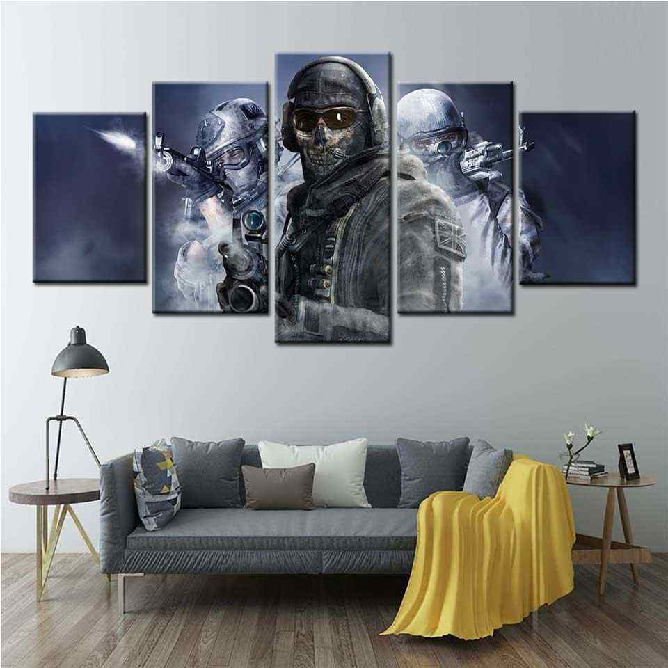 Call Of Duty 4 Modern Warfare Soldier Weapon Video Games Wall Art Canvas Painting Posters And Prints For Living Room Home Decor Aliexpress