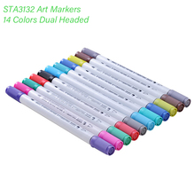 Buy 14 Colors STA Art Markers Soft Brush Set Dual Headed Animation Manga Sketching Painting Graffiti Pens Artist Stationery Supplies directly from merchant!
