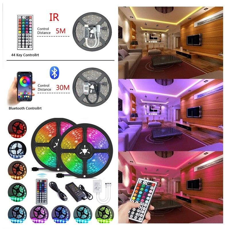 Luzes de tira led bluetooth rgb 5050 2835 fita de fita de lâmpada flexível infravermelha com diodo dc 12v 5m 10m 20m 32.8ft decoração para casa