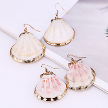 HOCOLE Natural Sea Shell Drop Earrings For Women Gold Color Geometric Dangle Earring Statement Bohemian Beach Jewelry Wholesale цена