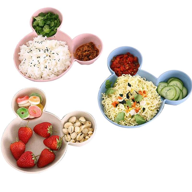 Cartoon Wheat Straw Baby Feeding Bowl Tableware Wheat Plate For Kids Children Infant Dish Training Dinnerware Cute Dishes Tray