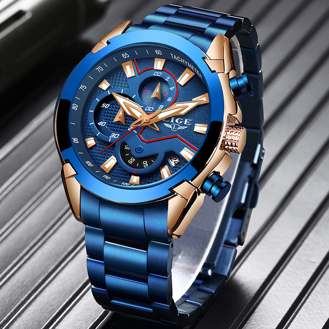 LIGE Fashion Blue Watch Men Luxury Quartz Wristwatch with Stainless Steel Waterproof Chronograph Sports Watch Male Clock Relojes