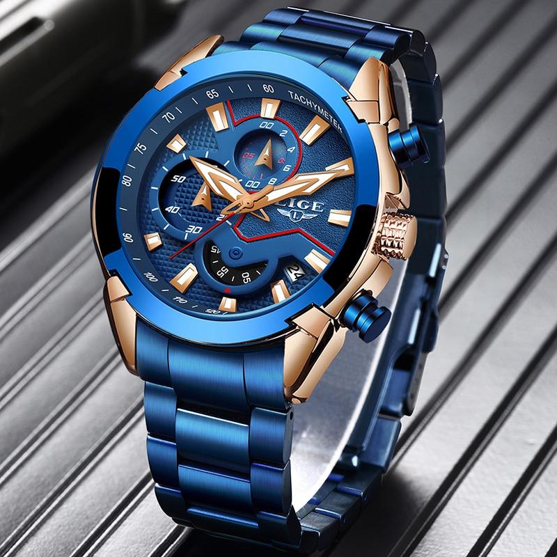 Saatler'ten Kuvars Saatler'de LIGE moda mavi İzle erkekler lüks kuvars kol saati paslanmaz çelik su geçirmez Chronograph spor saat erkek saat Relojes title=