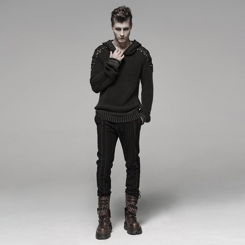 PUNK RAVE Punk Vintage con capucha negro suéter Steampunk Retro suéter Halloween hombre Casual moda oscuro Streetwear pulóvers - 4