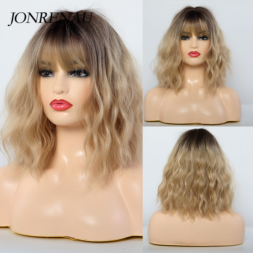 JONRENAU Synthetic Wigs Dark Root Ombre Blonde Color Middle Length Water Wave Hair Wigs with Bangs for White Black Women