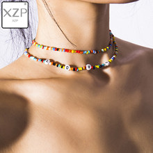 XZP Layered Small Beads Necklace Boho Multicolor Acrylic LOVE Letter Choker Necklace for Women Collar Gift 2019 Collier femme(China)