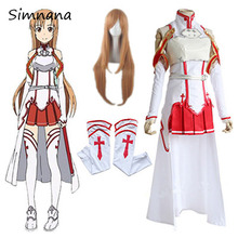 Anime Sword Art Online Asuna Yuuki Dress Cosplay Costumes Uniform for Halloween SAO Asuna Battle Suit Outfits Full Set with Wig