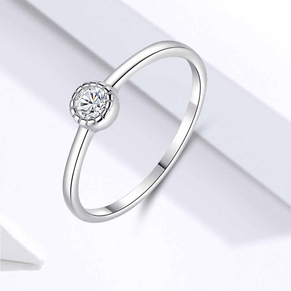 ELESHE แฟชั่นคริสตัลรอบแหวน 925 เงินสเตอร์ลิงแหวนผู้หญิงแหวนหมั้นแหวนเครื่องประดับหญิง