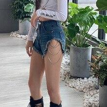 European and American ins2020 autumn hip hop metal element high waist light color pocket jeans women hole design shorts
