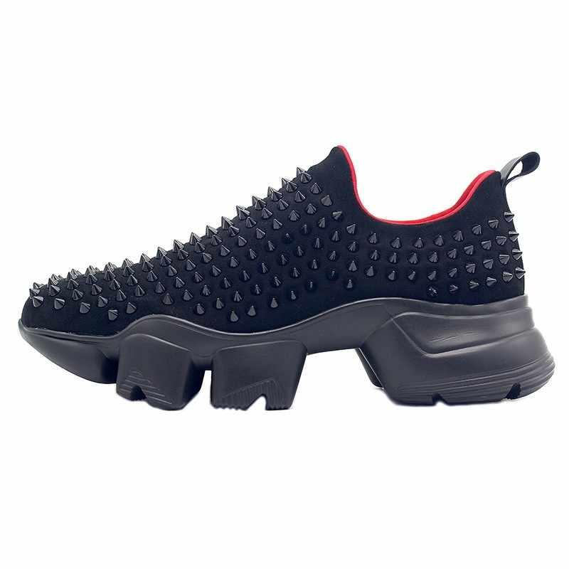 2020 Nieuwe Mannen Dikke Platform Schoenen Instappers Handgemaakte Klinknagels Studded Casual Sneakers Gothic Hoogte Toenemende Jogging Slip Op Schoenen