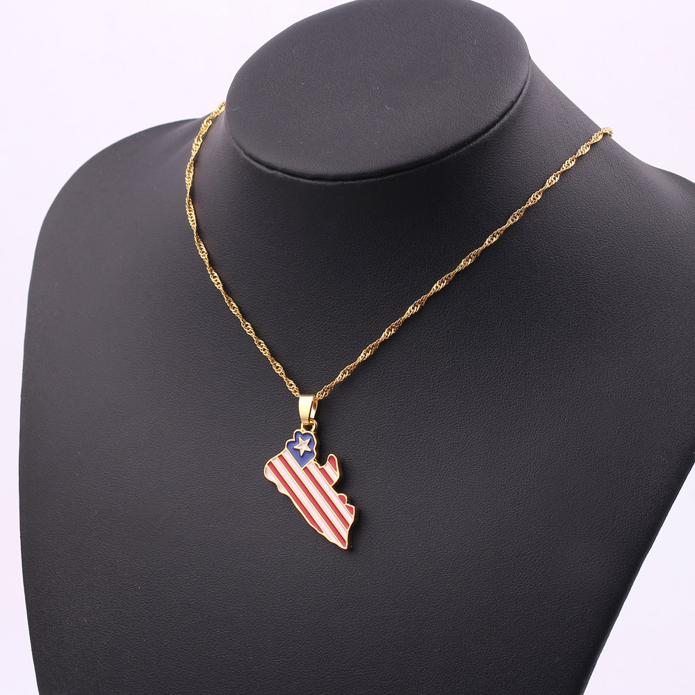 LEGENSTAR New Country Map Enamel Pendant Necklace Women Men Africa Guinea Ghana Liberia Undersea Hip hop Gold Necklace Jewelry in Pendant Necklaces from Jewelry Accessories