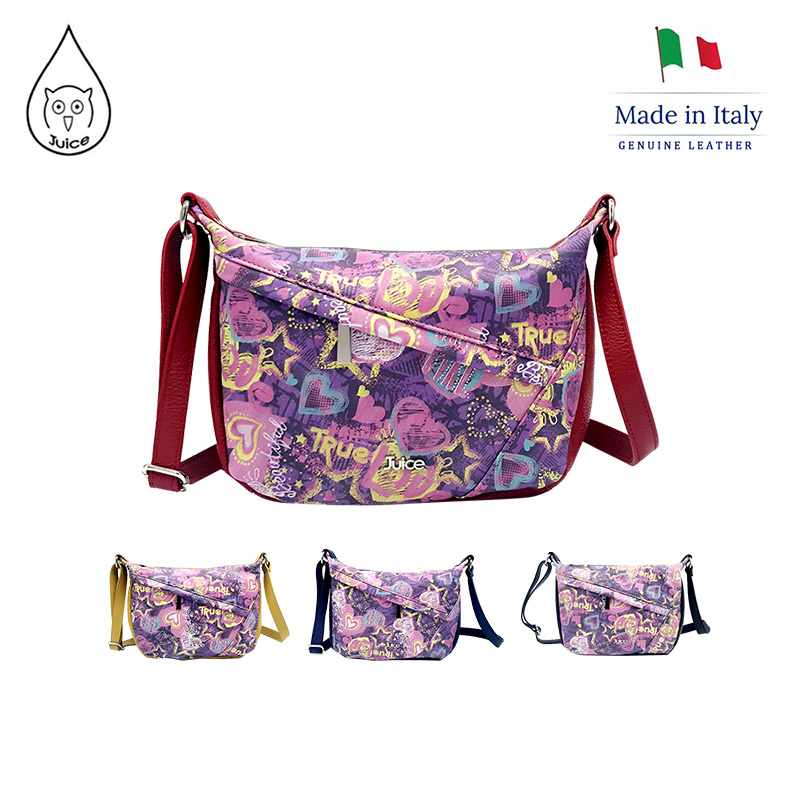JUICE ,made In Italy, Genuine Leather, Women Bag,cross Body,dollaro Leather Printed Soft Leather 112204