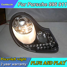1 пара для Porsche Boxster 996 911 светодиодный головной фонарь серебристый передний свет фары