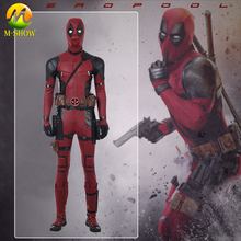 Deadpool 2 Cosplay Costume Wade Wilson Suit Red PU Leather Jumpsuit Halloween for men Custom Made