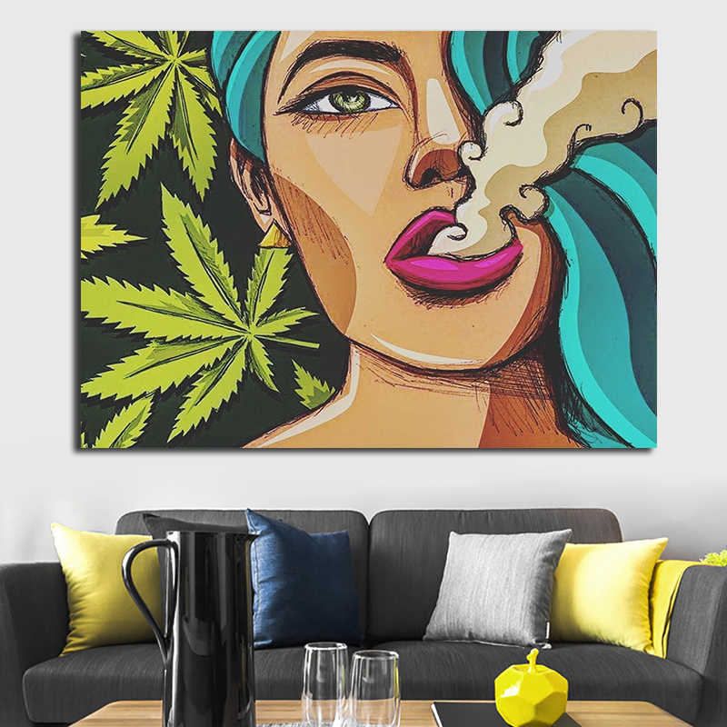 Oucag Cartoon Lady Smoking Painting Abstract Waterproof Canvas Wall Artwork Home Decoration Pictures For Living Room Graphic Aliexpress,Studio Apartment Design