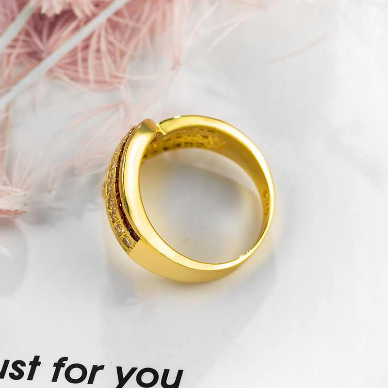 New Fashion Europe And America Gold Color Zircon Jewelry 925 Female Jewelry Ring For Women Accessories Dropshipping in Rings from Jewelry Accessories