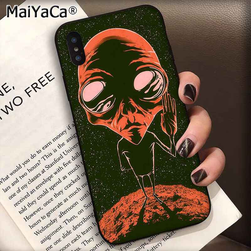 Maiyaca サイケデリックネクタイ染料平和エイリアンシリコーン黒電話ケース用 11 プロ 8 7 66 s プラス x xs 最大 5 s 、 se xr ケース