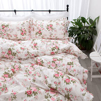 SWEET pink flower bedding set, twin full queen king cotton romantic single double home textile bedspread pillow case quilt cover