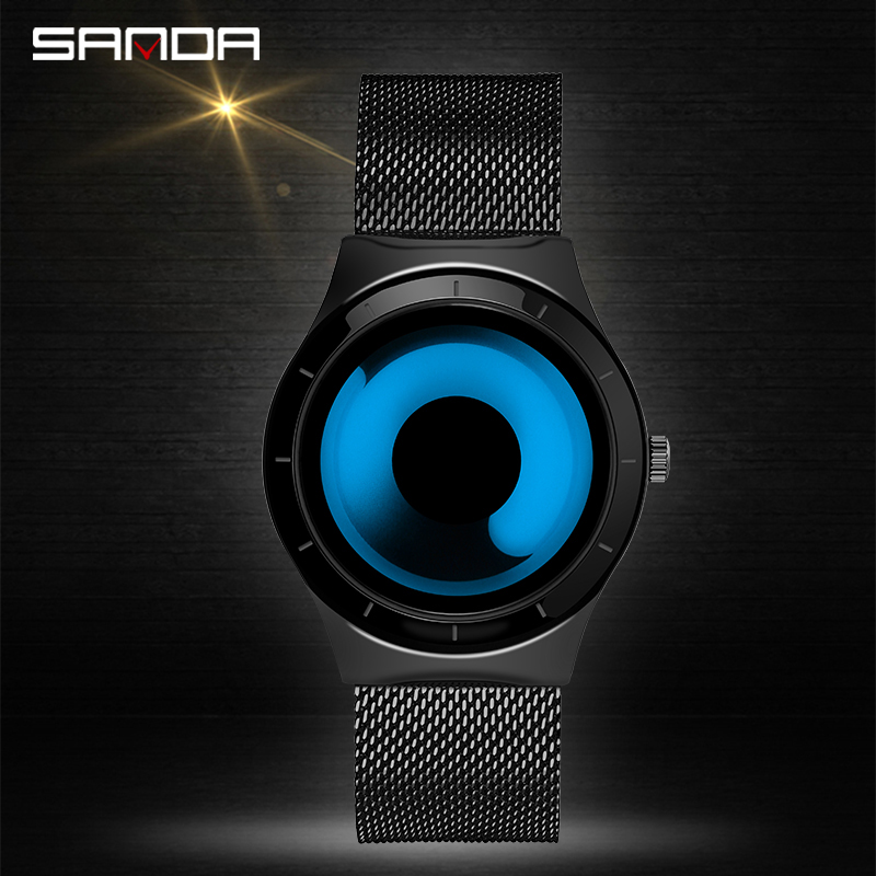 SANDA Hot Sell Fashion Men Wristwatch Charming Creative Vortex Dial Quartz Gift Watches Life Waterproof Relogio Masculino 1026