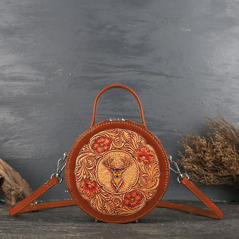 Leather women's bag retro head leather original women's slanted handbag leather carved small round bag - 4