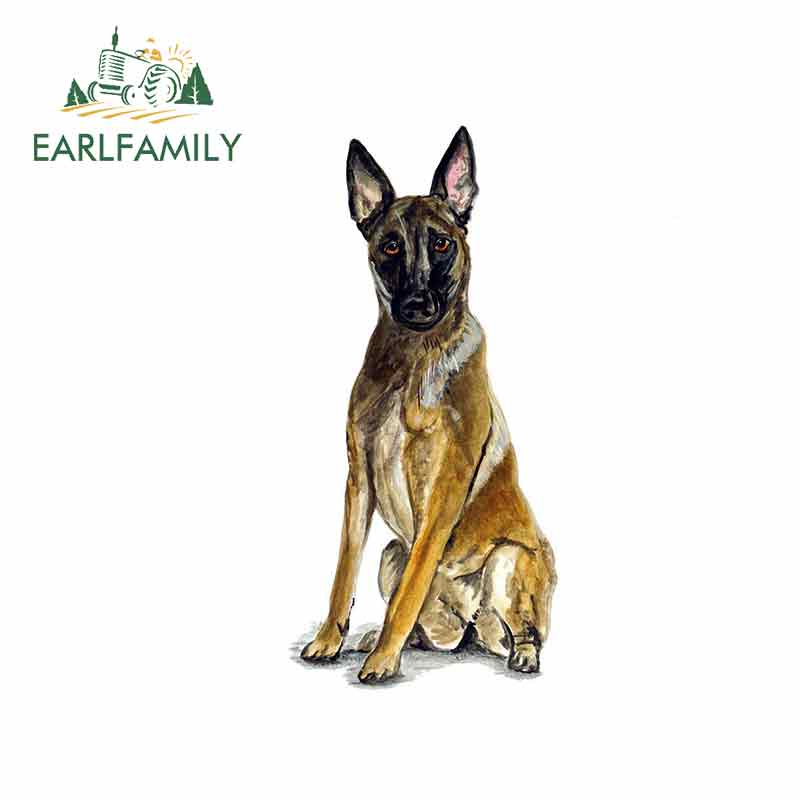EARLFAMILY 13cm X 6.3cm Car Stickers For Belgian Shepherd Malinois Police Rescue Guard Dog Graphics Funny Bumper Wall Decals