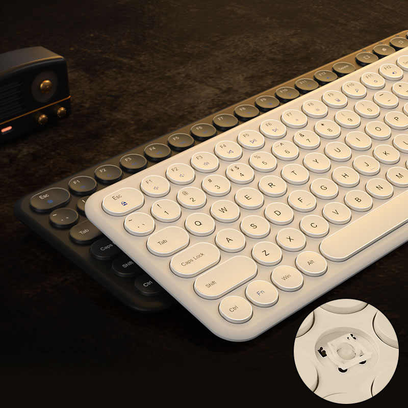 2.4G ماوس لاسلكي صامت مريح ماوس مستدير لوحة مفاتيح لوحة مفاتيح الألعاب ماوس لماك بوك برو لينوفو ماوس لوحة مفاتيح الكمبيوتر