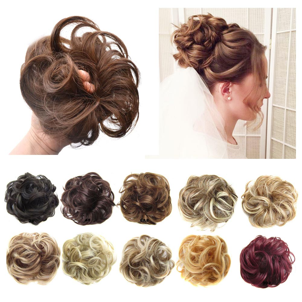 Synthetic Flexible Elastic Women's Messy Hair Bun BlackBrown Blonde Curly Scrunchy Chignon Hairpiece