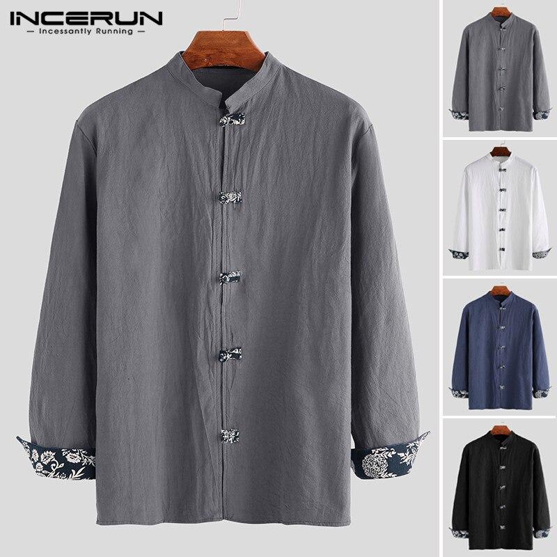 Vintage Men Shirt Cotton Long Sleeve Solid Mandarin Collar 2020 Streetwear Blouse Chinese Traditional Casual Men Shirt INCERUN 7