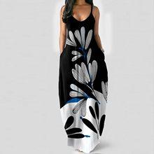 Feminino vestido solto casual verão impressão bolso estilingue sem mangas maxi vestido com decote em v vestidos de praia longo # g2