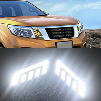 2PCS For Nissan NAVARA NP300 D23 2015 2016 2017 2018 2019 DRL Daytime Running Lights mask grille LED lamp with turning signal