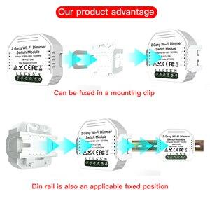 Image 2 - 2 Gang 2 yollu WiFi akıllı işık LED Dimmer Diy kesici modülü anahtarı akıllı ömrü/Tuya APP uzaktan kumanda alexa ile çalışmak Google