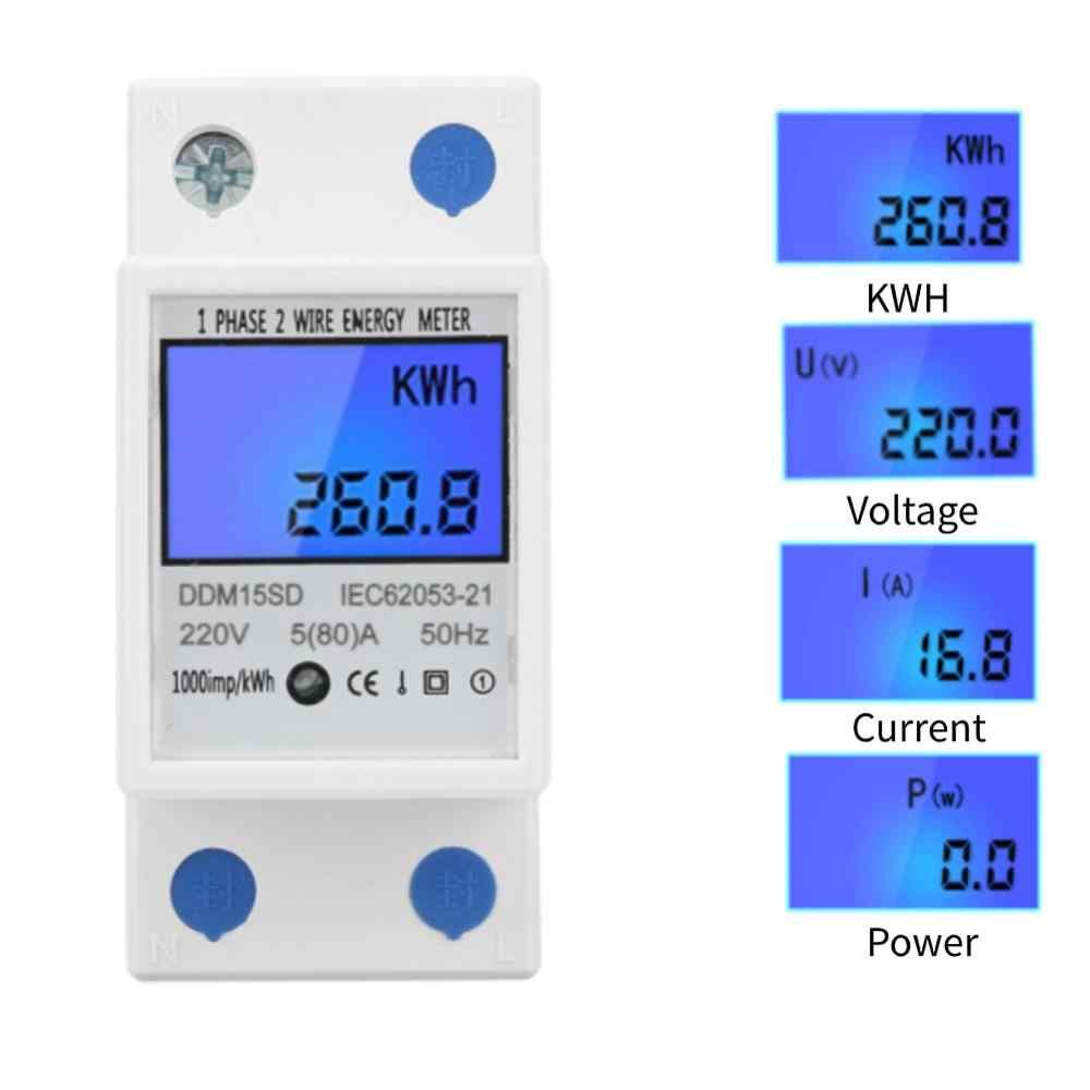 DDM15SD Elektronik Power Meter 5-80A Lampu Latar LCD Digital DIN Rail Energy Meter Fase Tunggal Dua Kawat Elektronik KWh Meter