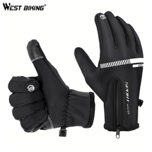 WEST BIKING Outdoor Winter Gloves Fleece Warm Cycling for Camping Skiing Touch Screen Full Finger Bicycle