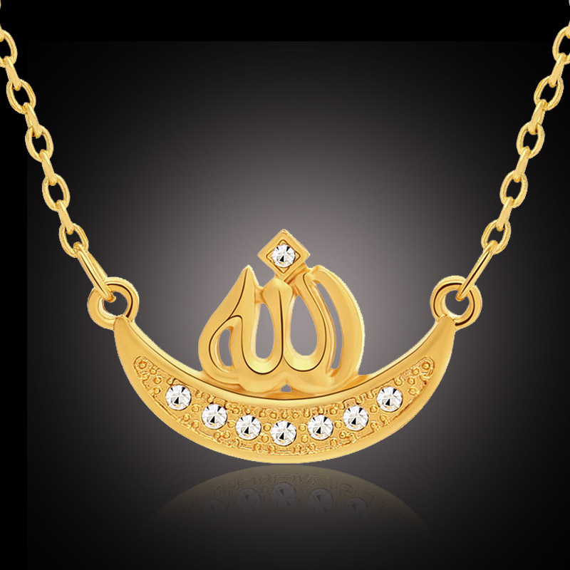 Muslim Islam Totem Allah Necklace Charm Moon Pendant Arabic Fashion Jewelry cz Stone Gold Plating Accessories Chain Necklaces