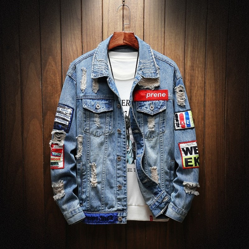 Mens Graffiti Denim Jackets Streetwear 2020 Hip Hop Casual Patchwork Ripped Distressed Punk Rock Hole Jeans Coats Outwear