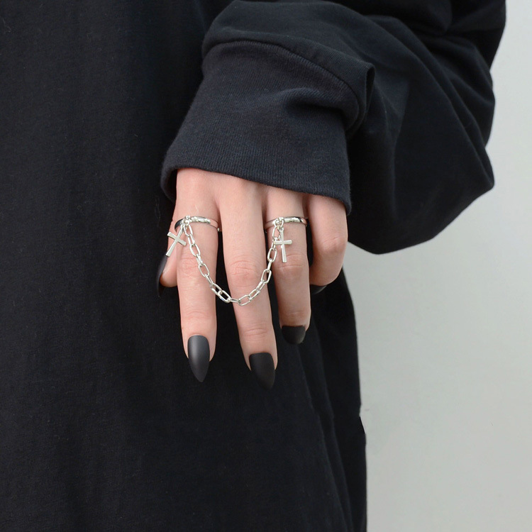 Silver Color Plated Retro Punk Hip-Hop Cross Ring Hand Finger Chain Adjustable Rings Jewelry Gift for Men Women Unisex Ring