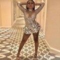 Блестящее серебряное короткое платье с блестками, Женский праздничный сексуальный костюм для бара и танцев на день рождения, костюм для вып...