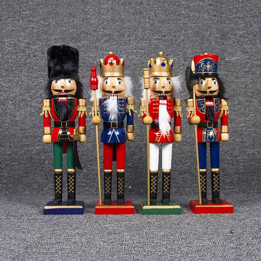 1pc Wooden Nutcracker Christmas Gift Kids Toys Wearing Red Golden Black Uniform Christmas Decoration Nutcracker Sol r Toys