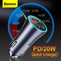 Baseus PD 20W USB Car Charger Quick Charge 4.0 QC 4.0 3.0 USBC Type C Fast Charging Charger For iPhone 12 Pro Max Xiaomi Huawei
